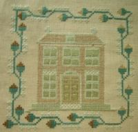 Miniature Brick House Sampler. circa 1800.